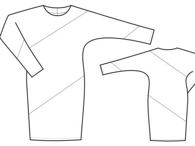 Модель № 2. Платье с диагональной вставкой.