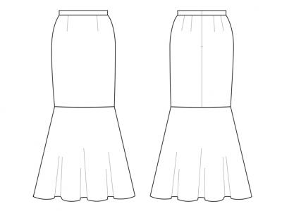 Модель № 7. Длинная юбка с широким воланом.