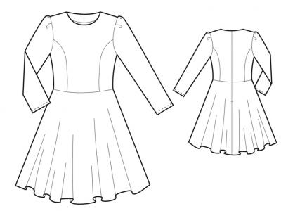 Модель № 11. Платье с юбкой-солнце и складками на рукавах.
