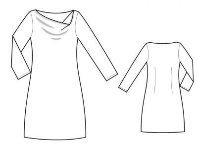 Модель № 12. Трикотажное платье с воротником «качели».