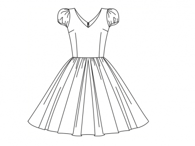 Модель № 16. Платье с рукавами «фонарик» и объемной юбкой.