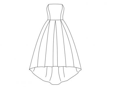 Модель № 17. Платье бюстье с асимметричной юбкой.