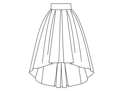 Модель № 19.  Юбка со шлейфом и с бантовыми складками.