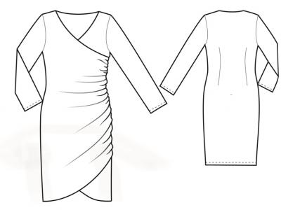 Модель № 21.  Трикотажное платье с драпировкой в левом боковом шве.