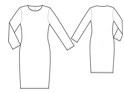 Модель № 22. Трикотажное платье прилегающего силуэта.