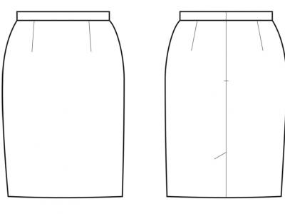 Модель № 23. Классическая юбка с разрезом.