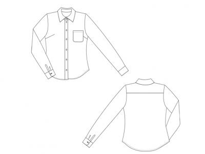 Модель № 24. Блузка с накладным карманом на левой полочке.