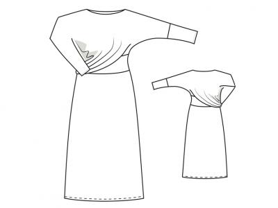 Модель № 29. Трикотажное длинное платье с драпировкой.