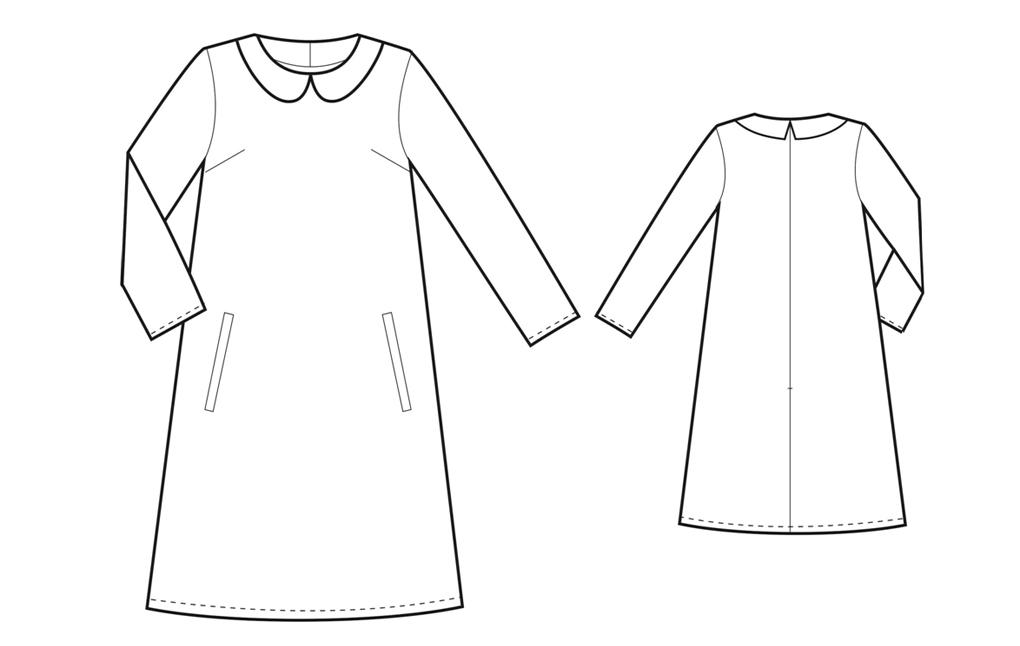 Как сшить черное платье с белым воротником выкройка 74